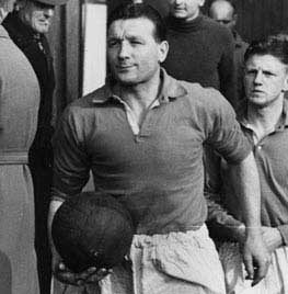 Mar 1952: Bob Paisley of Liverpool FC. leads out the team.