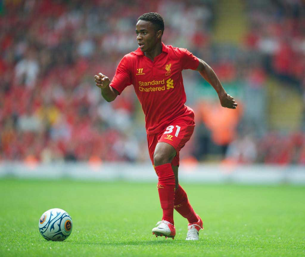 Raheem Sterling in action at Anfield (Pic: David Rawcliffe)