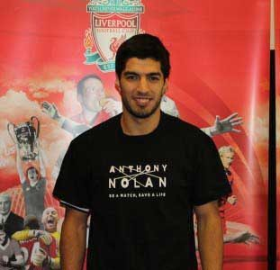 Luis Suarez supports the Anthony Nolan drive for more donors to join the register