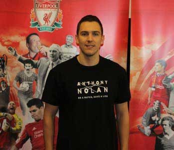 Stewart Downing in Anthony Nolan shirt