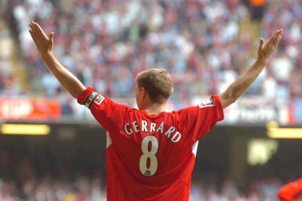 Steven Gerrard after scoring Liverpool's third, Cardiff, 2006 (Pic: David Rawcliffe / Propaganda Photo)