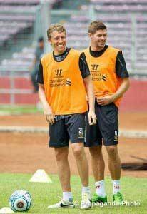 Lucas and Gerrard having a moment of fun (Pic: David Rawcliffe / Propaganda)