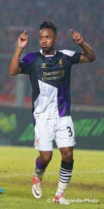 Sterling celebrates his goal against an Indonesia XI in pre-season. (Pic: David Rawcliffe)