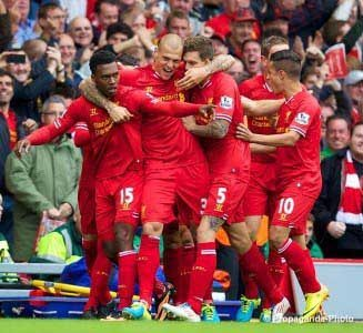 Sturridge after scoring the winner against Manchester United at Anfield (Pic: David Rawcliff / PropagandaPhoto)