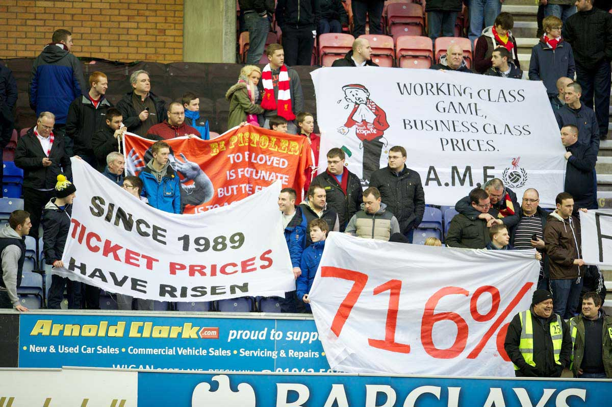 Liverpool supporters protest against high ticket prices. Pic:  Propaganda