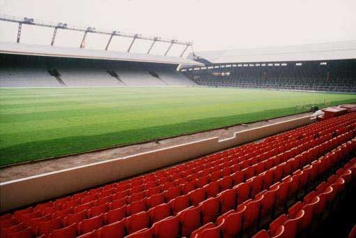 The standing Kop and the Kemlyn Road at Anfield