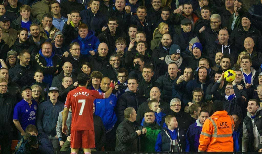 Suarez - not that popular with Evertonians, it seems. Pic: Propaganda