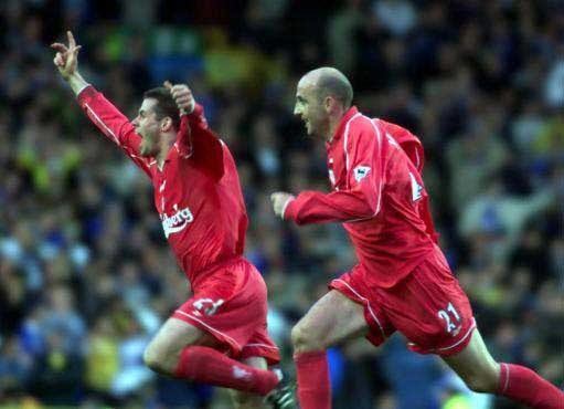 OH WE LOVED YER DERBY GOAL:  Gary Mac celebrates that goal with Carra. Pic: PA