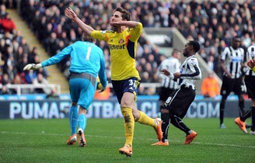 Borini celebrates scoring from the penalty spot at Newcastle. Pic: PA