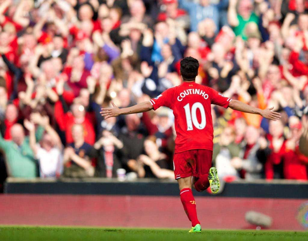 PHIL COUTINHO MADE UP  AFTER SCORING A GOAL Pic: David Rawcliffe-Propaganda.