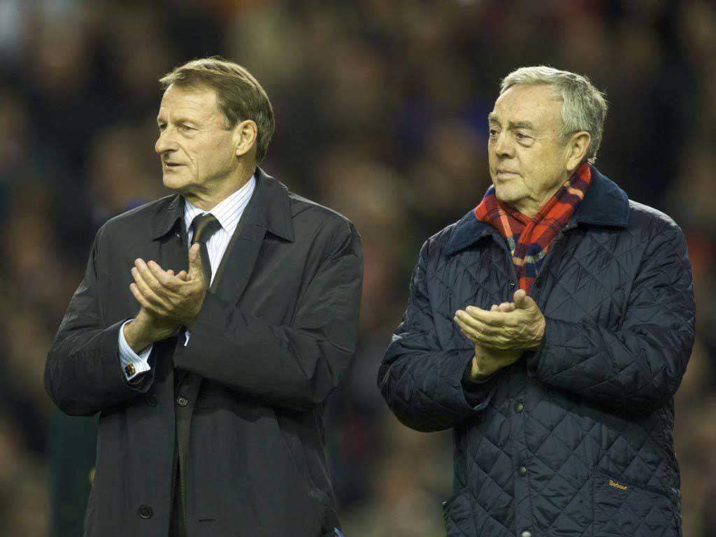 2009: Roger Hunt and Ian St John join the parade of Liverpool legends on the pitch at Anfield to commemorate 50 years since the appointment of Bill Shankly