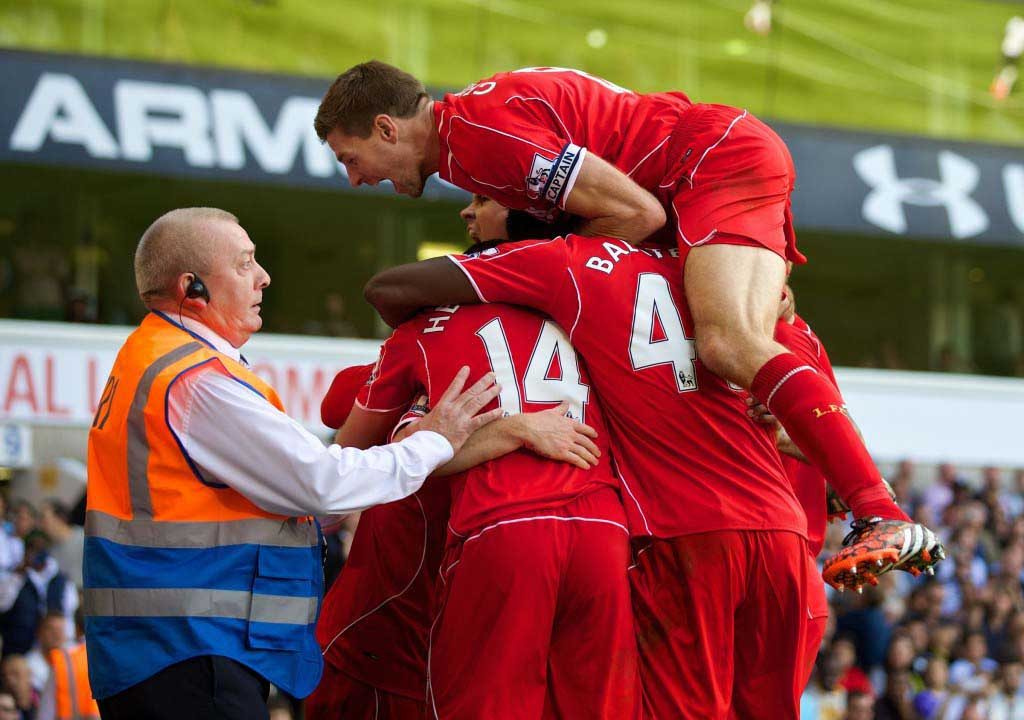 SMELLS LIKE TEAM SPIRIT: Liverpool's systematic football was back with a bang on Sunday at Spurs. Pic: David Rawcliffe