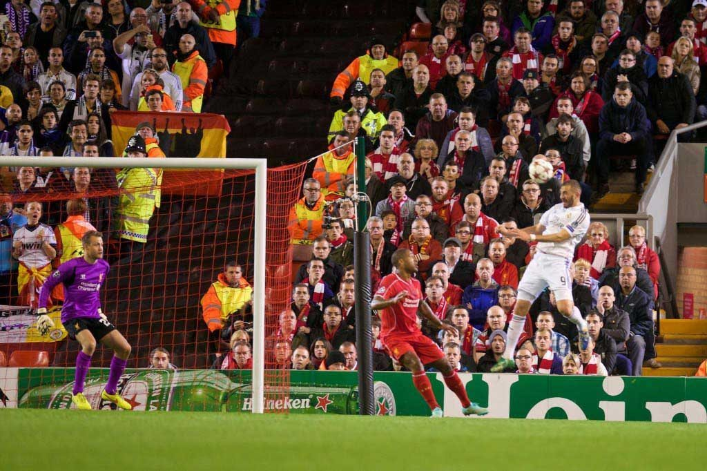 TWO HOT TO HANDLE: Karim Benzema scores the second goal against Liverpool. Pic David Rawcliffe-Propaganda