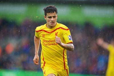 Philippe Coutinho plays for Liverpool vs Crystal Palace