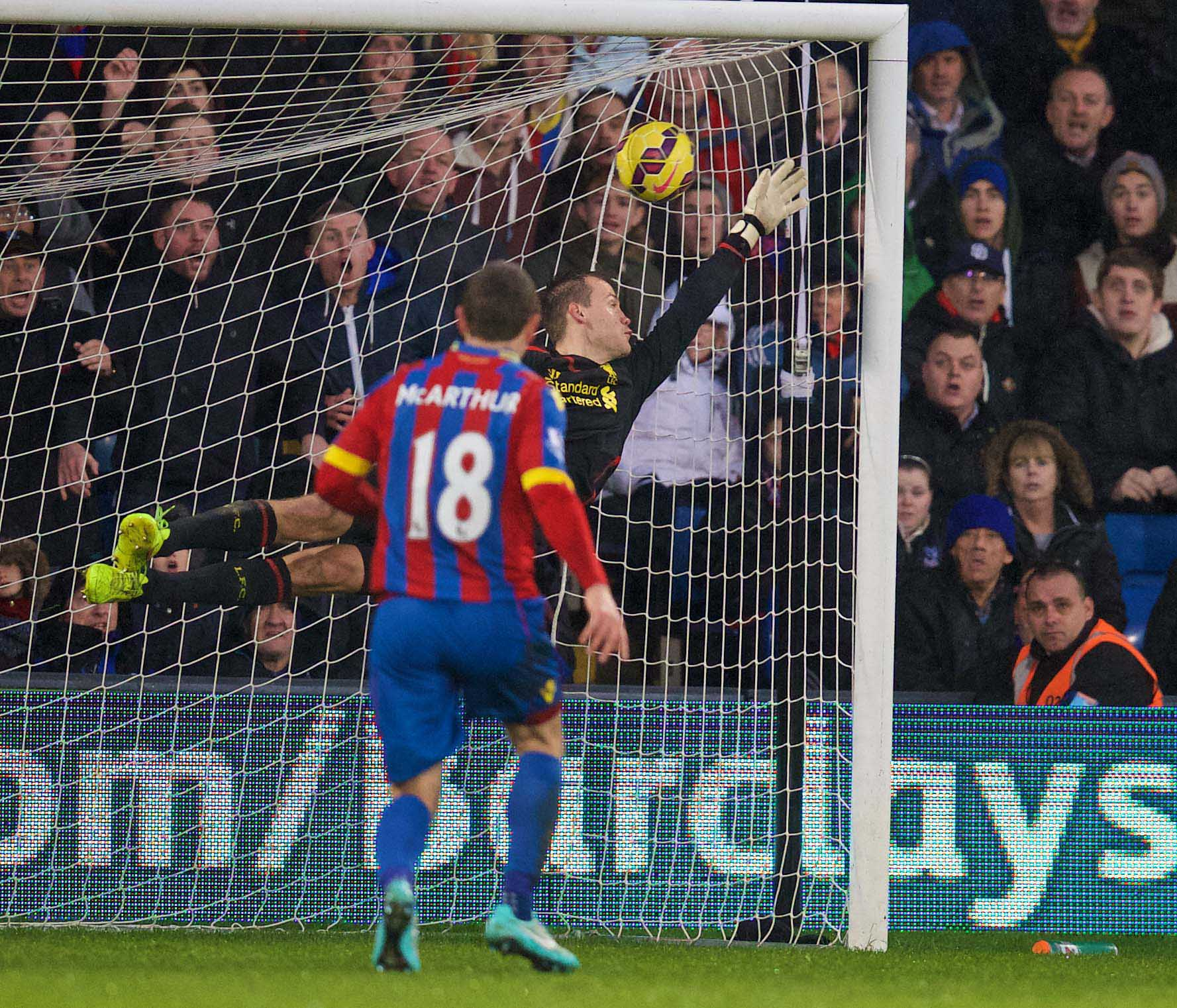 Liverpool's goalkeeper Simon Mignolet is beaten for Crystal Palace's third goal