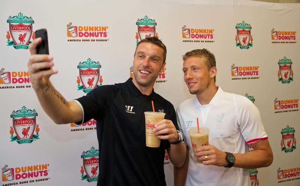 Football - Liverpool FC Preseason Tour 2014 - Liverpool players visit Dunkin' Donuts