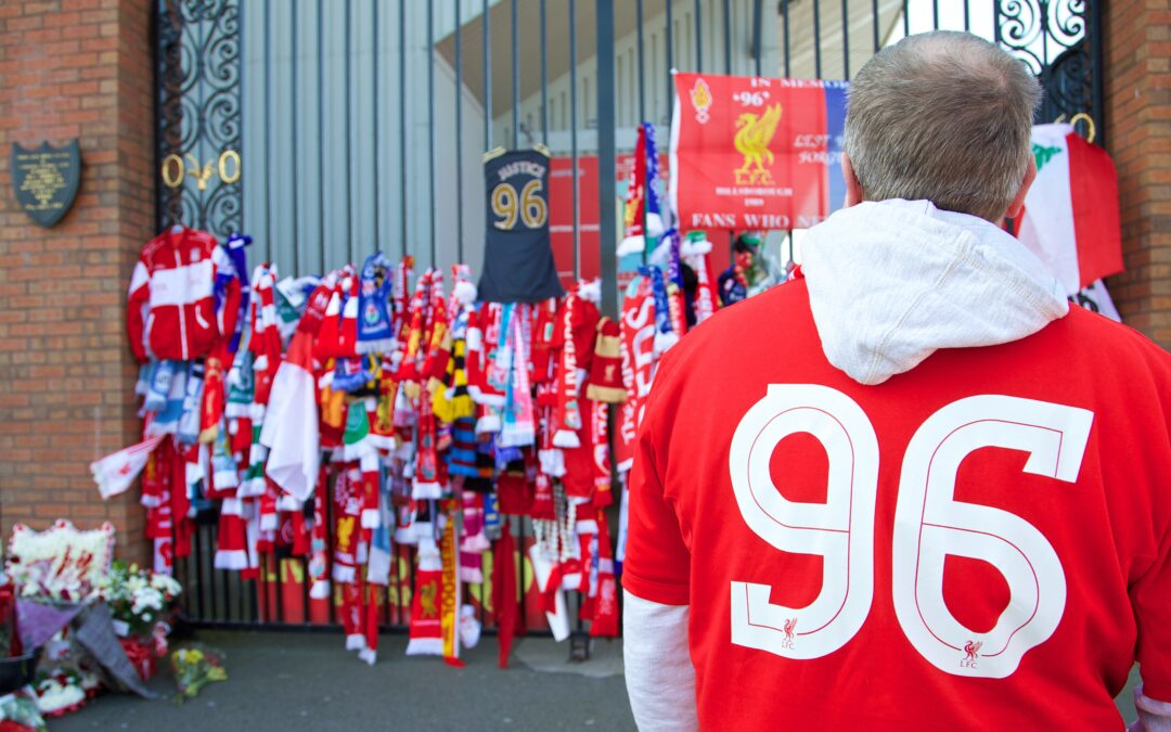 Liverpool Supporter at Shankly Gates Hillsborough