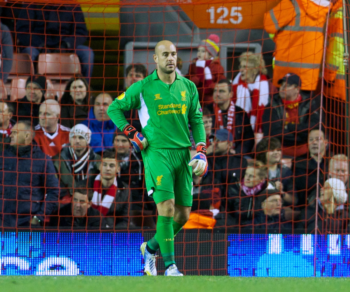 LIVERPOOL, ENGLAND - Thursday, November 22, 2012: Liverpool's goalkeeper Jose Reina looks dejected as BSC Young Boys score the first goal during the UEFA Europa League Group A match at Anfield. (Pic by David Rawcliffe/Propaganda)