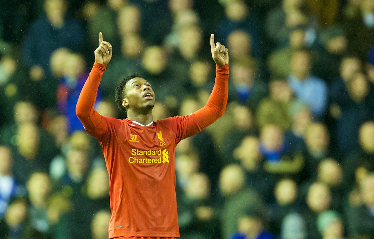 LIVERPOOL, ENGLAND - Tuesday, January 28, 2014: Liverpool's Daniel Sturridge celebrates scoring the second goal against Everton during the 222nd Merseyside Derby Premiership match at Anfield. (Pic by David Rawcliffe/Propaganda)