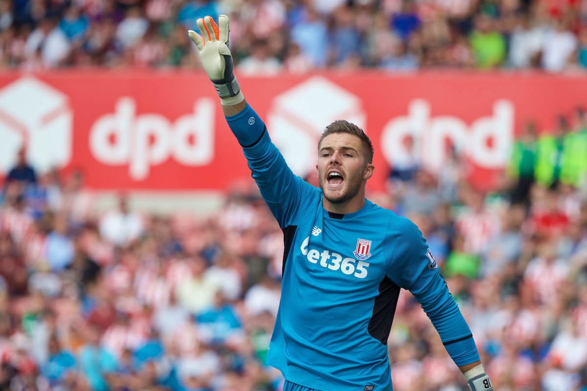 STOKE-ON-TRENT, ENGLAND - Sunday, August 9, 2015: Stoke City's goalkeeper Jack Butland in action against Liverpool during the Premier League match at the Britannia Stadium. (Pic by David Rawcliffe/Propaganda)