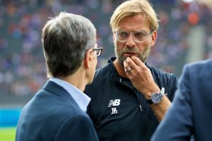 BERLIN, GERMANY - Saturday, July 29, 2017: Liverpool's manager Jürgen Klopp chats with club owner John W. Henry before a preseason friendly match celebrating 125 years of football for Liverpool and Hertha BSC Berlin at the Olympic Stadium. (Pic by David Rawcliffe/Propaganda)