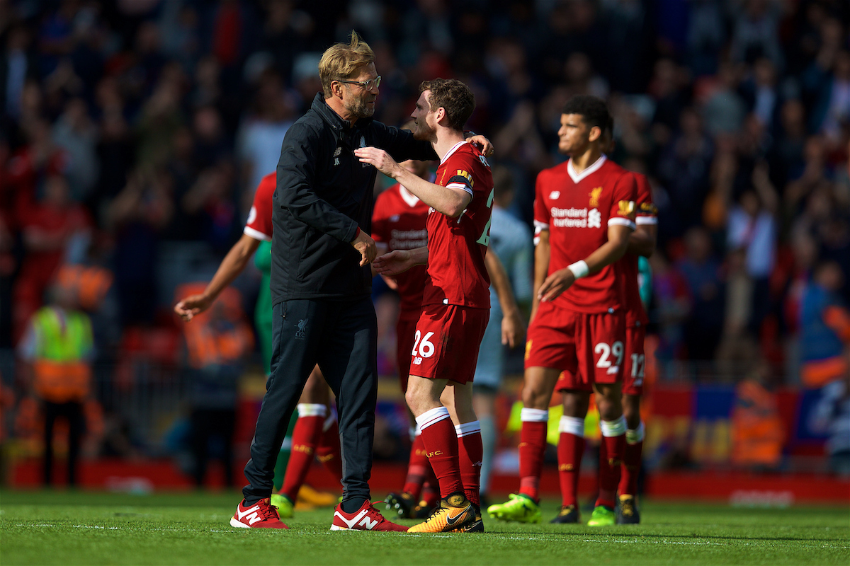 LIVERPOOL, ENGLAND - Saturday, August 19, 2017: Liverpool's manager Jürgen Klopp celebrates the 1-0 victory with Andy Robertson during the FA Premier League match between Liverpool and Crystal Palace at Anfield. (Pic by David Rawcliffe/Propaganda)