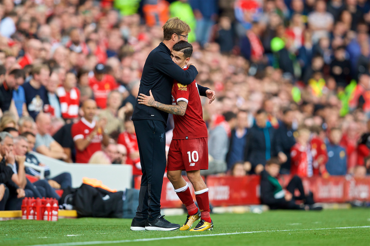 LIVERPOOL, ENGLAND - Saturday, October 14, 2017: Liverpool's Philippe Coutinho Correia is embraced by manager Jürgen Klopp during the FA Premier League match between Liverpool and Manchester United at Anfield. (Pic by David Rawcliffe/Propaganda)