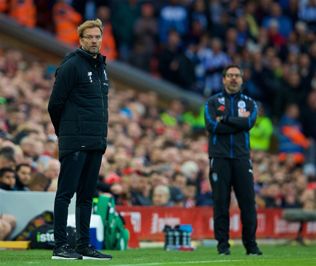 LIVERPOOL, ENGLAND - Saturday, October 28, 2017: Liverpool's manager Jürgen Klopp and Huddersfield Town's manager David Wagner during the FA Premier League match between Liverpool and Huddersfield Town at Anfield. (Pic by David Rawcliffe/Propaganda)
