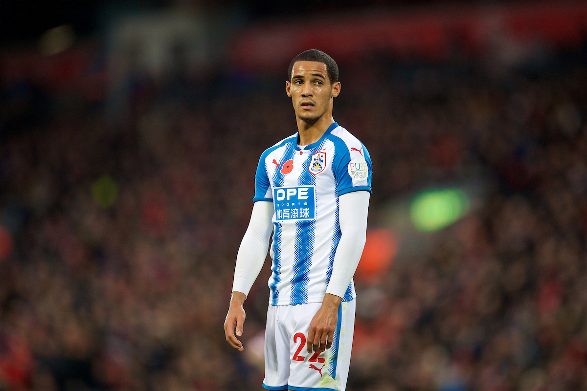 LIVERPOOL, ENGLAND - Saturday, October 28, 2017: Huddersfield Town's Tom Ince during the FA Premier League match between Liverpool and Huddersfield Town at Anfield. (Pic by David Rawcliffe/Propaganda)
