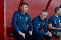 SEVILLE, SPAIN - Tuesday, November 21, 2017: Liverpool's Under-18 manager Steven Gerrard and Under-23 manager Neil Critchley before the UEFA Youth League Group E match between Sevilla FC and Liverpool FC at the Ciudad Deportiva Jose Ramon Cisneros. (Pic by David Rawcliffe/Propaganda)