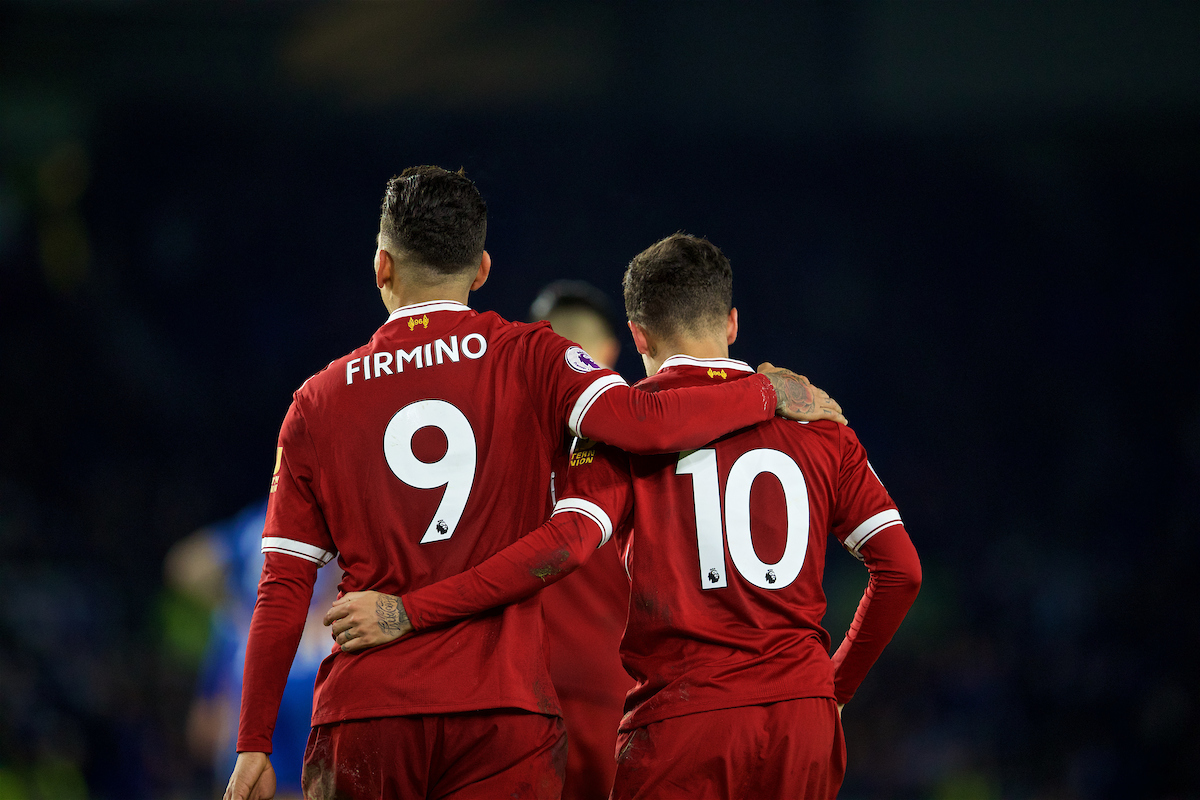 BRIGHTON AND HOVE, ENGLAND - Saturday, December 2, 2017: Liverpool's Philippe Coutinho Correia celebrates scoring the fourth goal with team-mate Roberto Firmino during the FA Premier League match between Brighton & Hove Albion FC and Liverpool FC at the American Express Community Stadium. (Pic by David Rawcliffe/Propaganda)