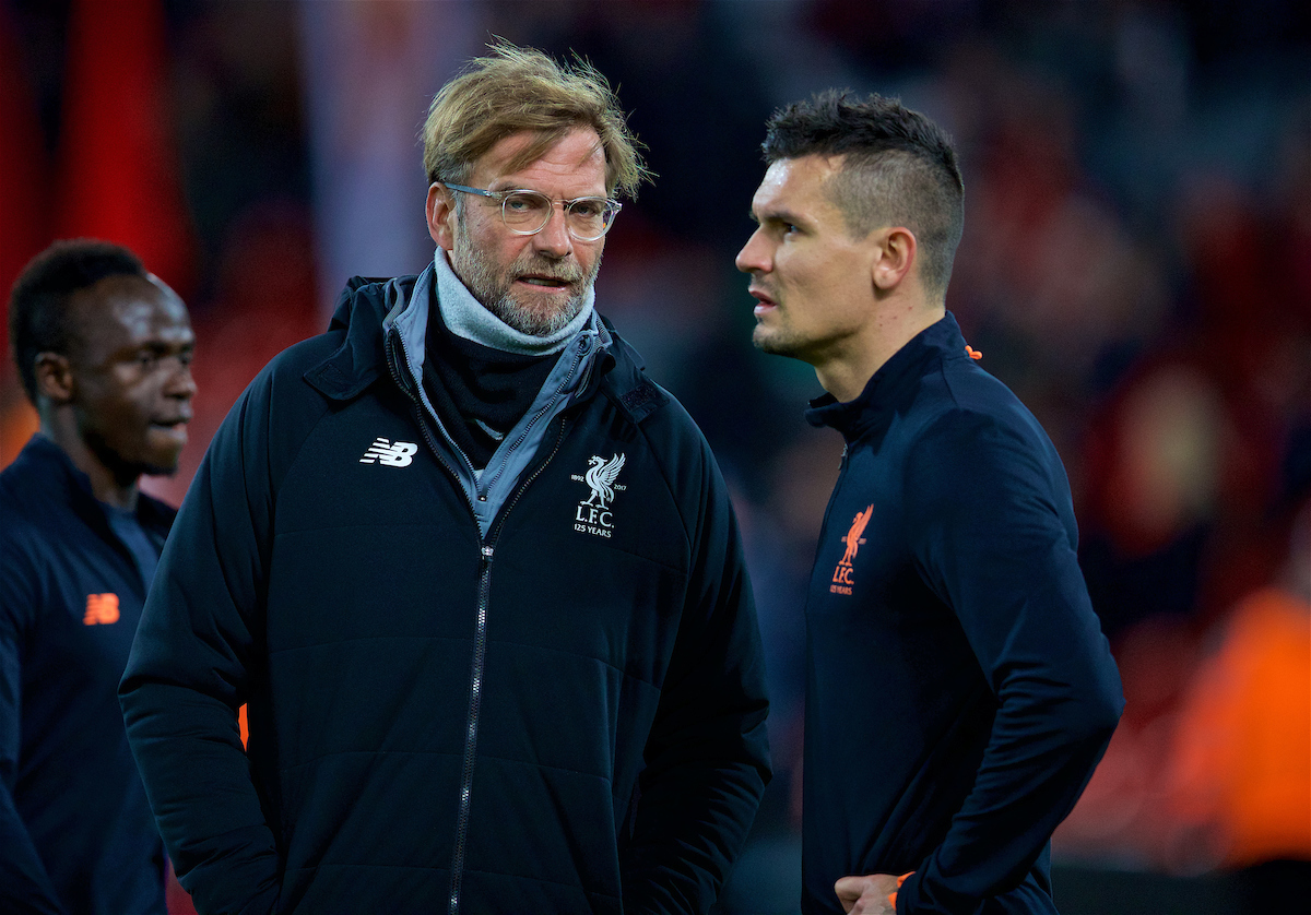 LIVERPOOL, ENGLAND - Wednesday, December 6, 2017: Liverpool's manager Jürgen Klopp and Dejan Lovren before the UEFA Champions League Group E match between Liverpool FC and FC Spartak Moscow at Anfield. (Pic by David Rawcliffe/Propaganda)