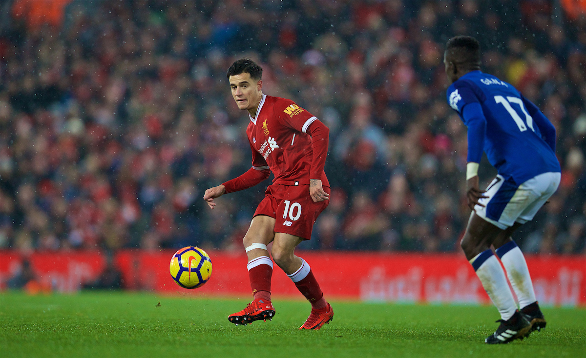 LIVERPOOL, ENGLAND - Sunday, December 10, 2017: Liverpool's Philippe Coutinho Correia during the FA Premier League match between Liverpool and Everton, the 229th Merseyside Derby, at Anfield. (Pic by David Rawcliffe/Propaganda)