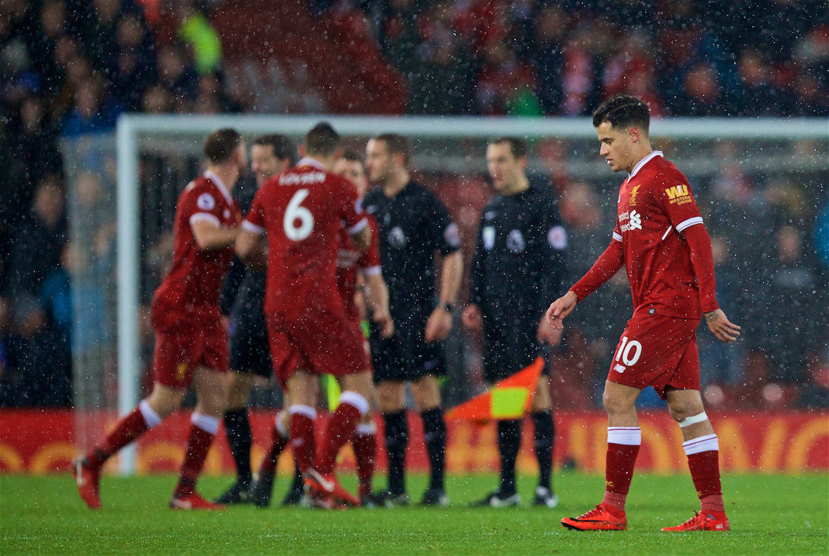 LIVERPOOL, ENGLAND - Sunday, December 10, 2017: Liverpool's Philippe Coutinho Correia walks off dejected as the game finishes 1-1 during the FA Premier League match between Liverpool and Everton, the 229th Merseyside Derby, at Anfield. (Pic by David Rawcliffe/Propaganda)