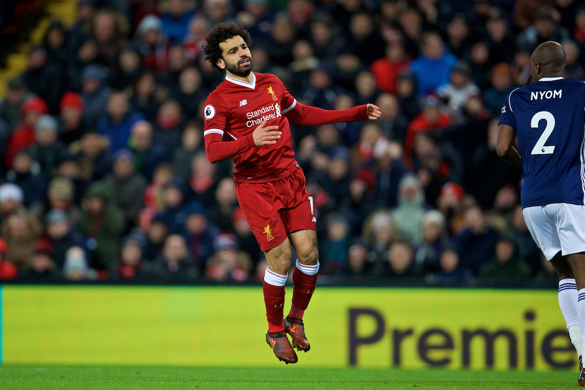 LIVERPOOL, ENGLAND - Wednesday, December 13, 2017: Liverpool's Mohamed Salah looks dejected after missing a chance during the FA Premier League match between Liverpool and West Bromwich Albion at Anfield. (Pic by David Rawcliffe/Propaganda)