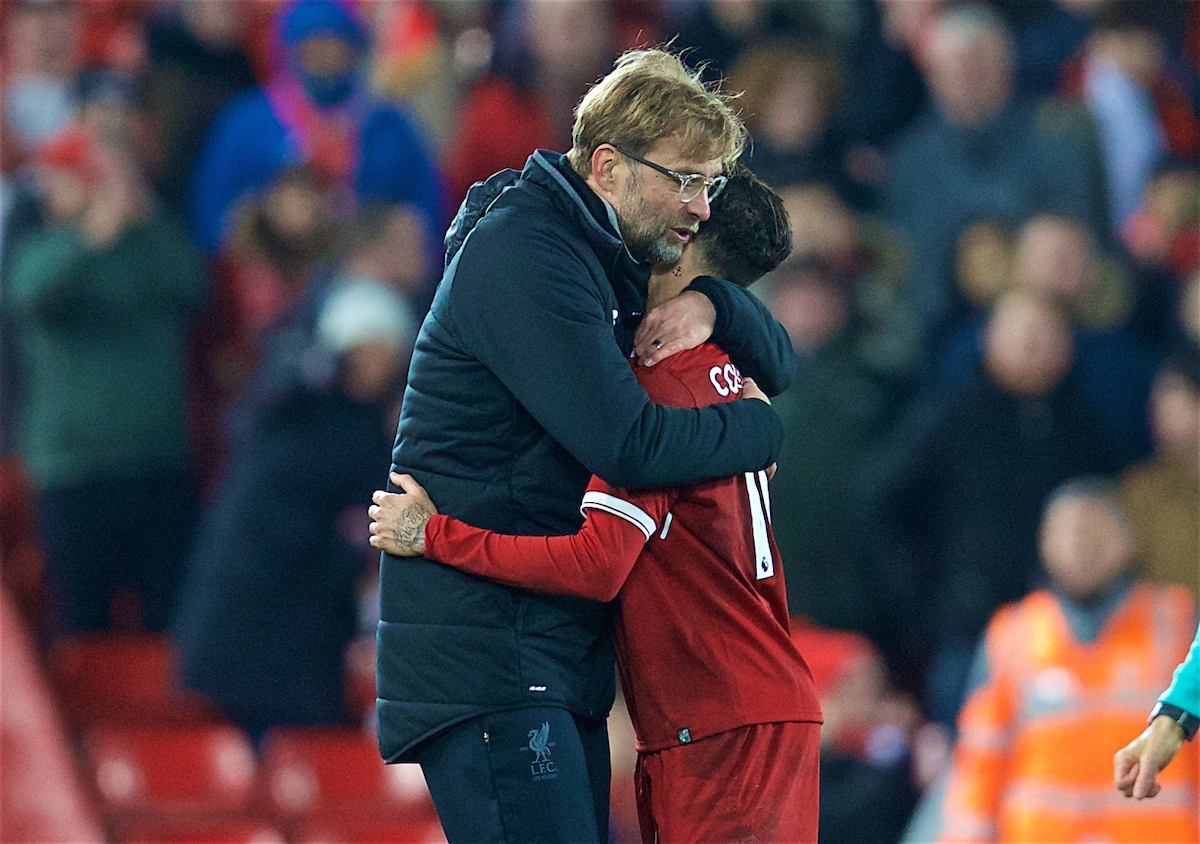LIVERPOOL, ENGLAND - Boxing Day, Tuesday, December 26, 2017: Liverpool's manager Jürgen Klopp embraces Philippe Coutinho Correia after the 5-0 victory during the FA Premier League match between Liverpool and Swansea City at Anfield. (Pic by David Rawcliffe/Propaganda)