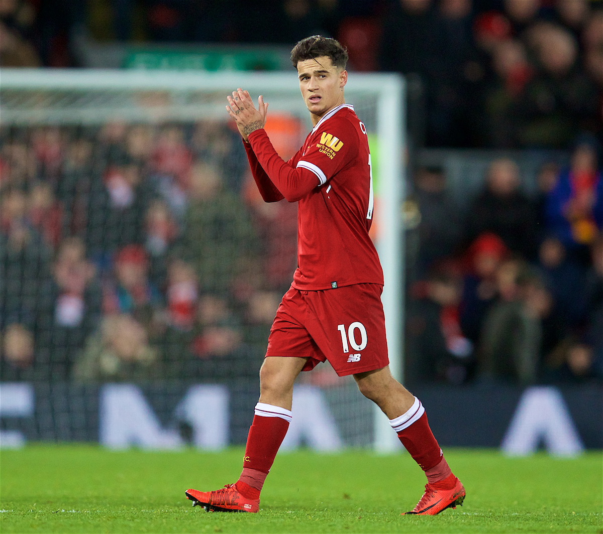 LIVERPOOL, ENGLAND - Saturday, December 30, 2017: Liverpool's Philippe Coutinho Correia applauds the supporters as he is substituted during the FA Premier League match between Liverpool and Leicester City at Anfield. (Pic by David Rawcliffe/Propaganda)