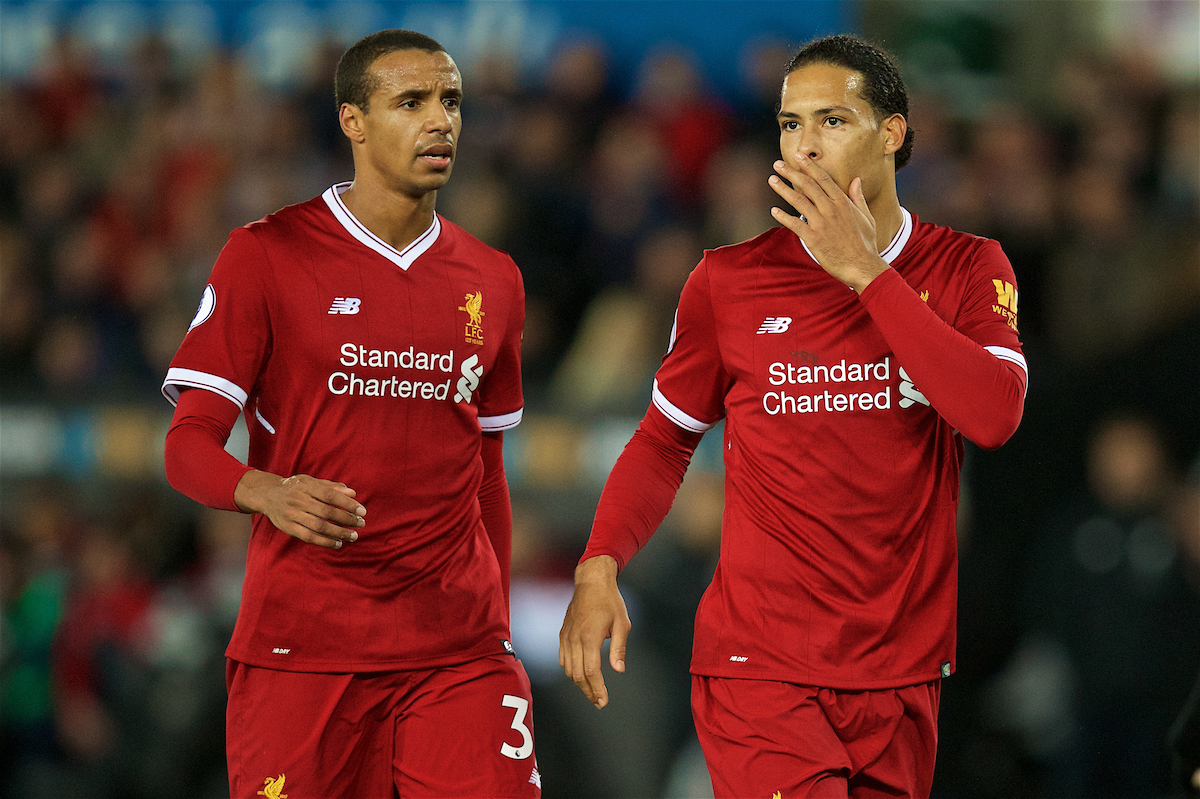 SWANSEA, WALES - Monday, January 22, 2018: Liverpool's Joel Matip and Virgil van Dijk during the FA Premier League match between Swansea City FC and Liverpool FC at the Liberty Stadium. (Pic by David Rawcliffe/Propaganda)