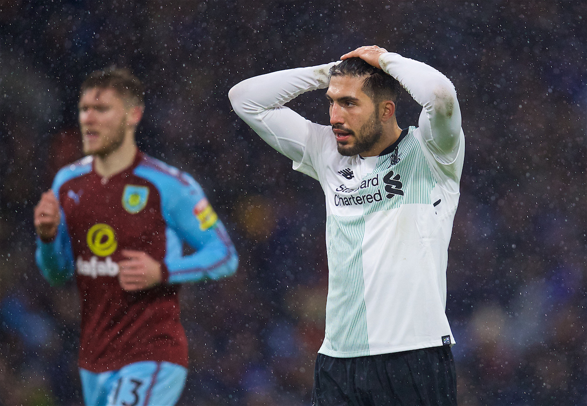 LIVERPOOL, ENGLAND - Saturday, December 30, 2017: Liverpool's Emre Can looks dejected during the FA Premier League match between Liverpool and Leicester City at Anfield. (Pic by David Rawcliffe/Propaganda)