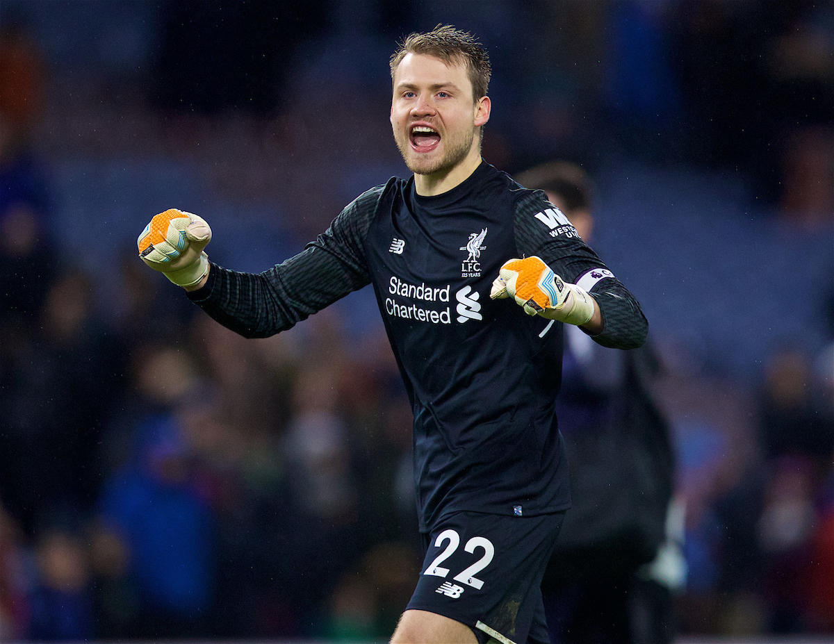 LIVERPOOL, ENGLAND - Saturday, December 30, 2017: Liverpool's goalkeeper Simon Mignolet celebrates his side's 2-1 victory over Burnley during the FA Premier League match between Liverpool and Leicester City at Anfield. (Pic by David Rawcliffe/Propaganda)