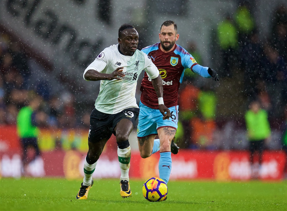 LIVERPOOL, ENGLAND - Saturday, December 30, 2017: Liverpool's Sadio Mane and Burnley's Steven Defour during the FA Premier League match between Liverpool and Leicester City at Anfield. (Pic by David Rawcliffe/Propaganda)