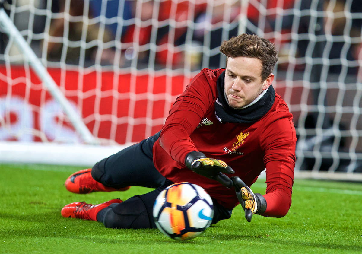 LIVERPOOL, ENGLAND - Friday, January 5, 2018: Liverpool's goalkeeper Danny Ward during the pre-match warm-up before the FA Cup 3rd Round match between Liverpool FC and Everton FC, the 230th Merseyside Derby, at Anfield. (Pic by David Rawcliffe/Propaganda)