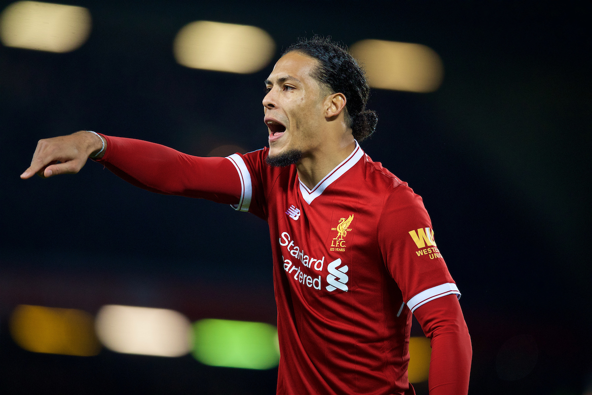 LIVERPOOL, ENGLAND - Friday, January 5, 2018: Liverpool's new signing Virgil van Dijk, who joined from Southampton for £75m, a world record for a defender, during the FA Cup 3rd Round match between Liverpool FC and Everton FC, the 230th Merseyside Derby, at Anfield. (Pic by David Rawcliffe/Propaganda)