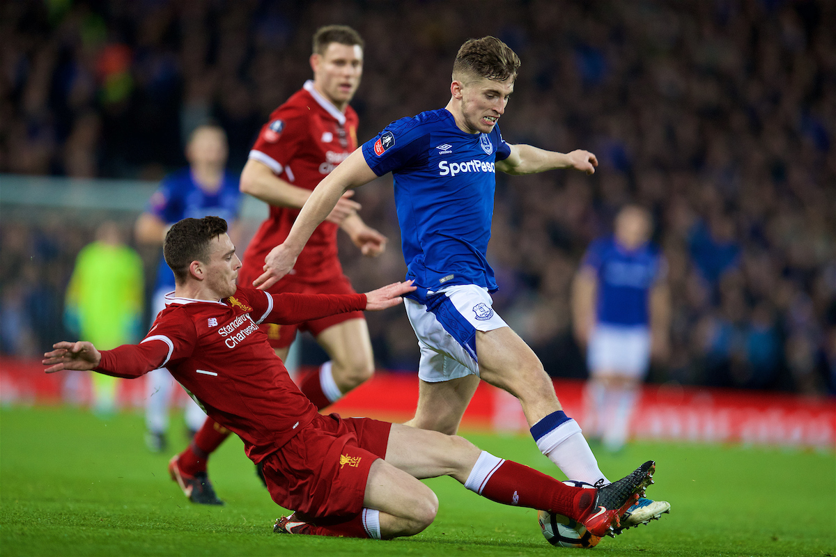 LIVERPOOL, ENGLAND - Friday, January 5, 2018: Liverpool's Andy Robertson and Everton's Jonjoe Kenny during the FA Cup 3rd Round match between Liverpool FC and Everton FC, the 230th Merseyside Derby, at Anfield. (Pic by David Rawcliffe/Propaganda)