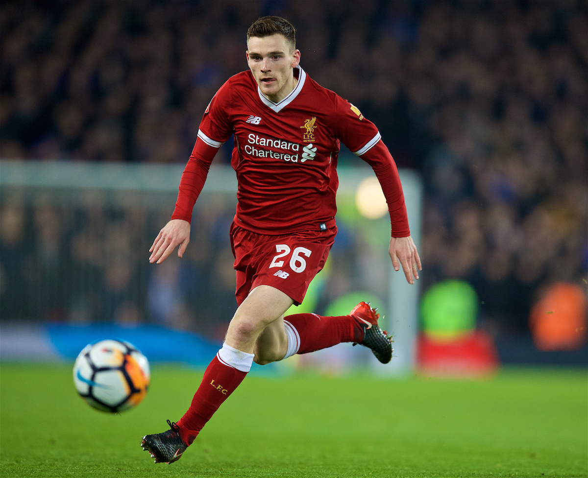LIVERPOOL, ENGLAND - Friday, January 5, 2018: Liverpool's Andy Robertson during the FA Cup 3rd Round match between Liverpool FC and Everton FC, the 230th Merseyside Derby, at Anfield. (Pic by David Rawcliffe/Propaganda)