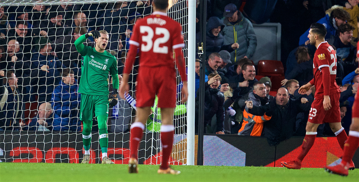 LIVERPOOL, ENGLAND - Friday, January 5, 2018: Liverpool's goalkeeper Loris Karius looks dejected as Everton score an equalising goal during the FA Cup 3rd Round match between Liverpool FC and Everton FC, the 230th Merseyside Derby, at Anfield. (Pic by David Rawcliffe/Propaganda)