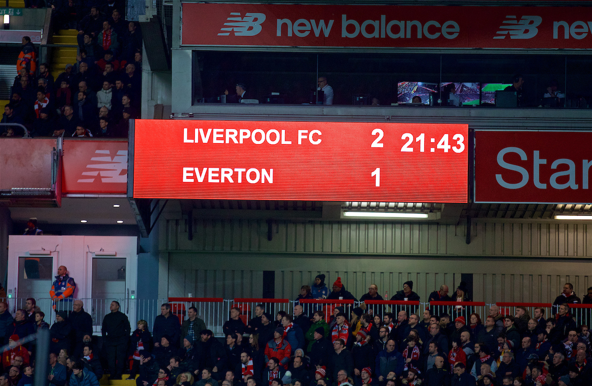 LIVERPOOL, ENGLAND - Friday, January 5, 2018: Liverpool's scoreboard records the 2-1 victory over Everton during the FA Cup 3rd Round match between Liverpool FC and Everton FC, the 230th Merseyside Derby, at Anfield. (Pic by David Rawcliffe/Propaganda)