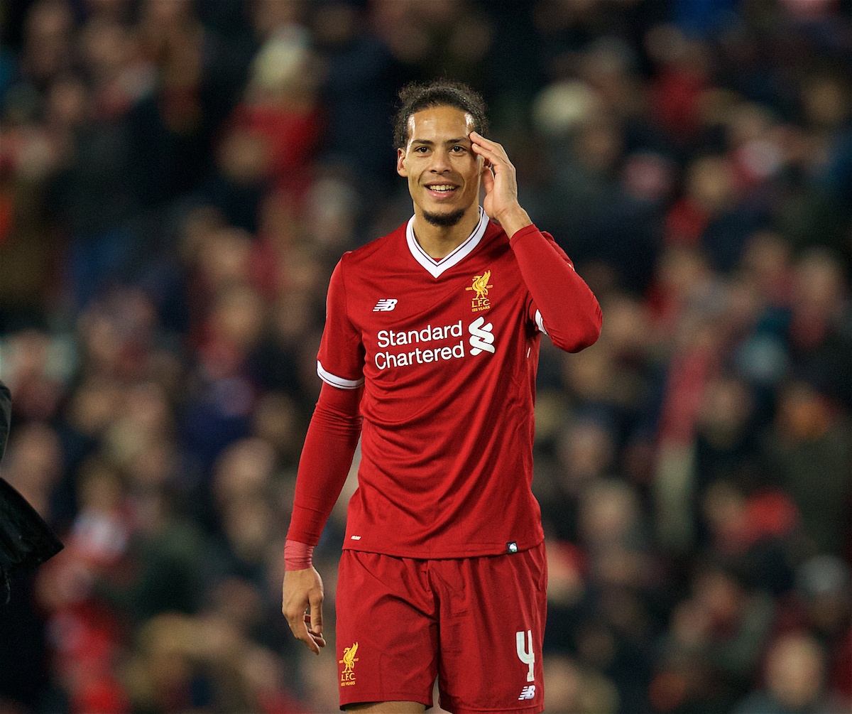 LIVERPOOL, ENGLAND - Friday, January 5, 2018: Liverpool's match winning goal-scorer Virgil van Dijk celebrates after the 2-1 victory over Everton during the FA Cup 3rd Round match between Liverpool FC and Everton FC, the 230th Merseyside Derby, at Anfield. (Pic by David Rawcliffe/Propaganda)