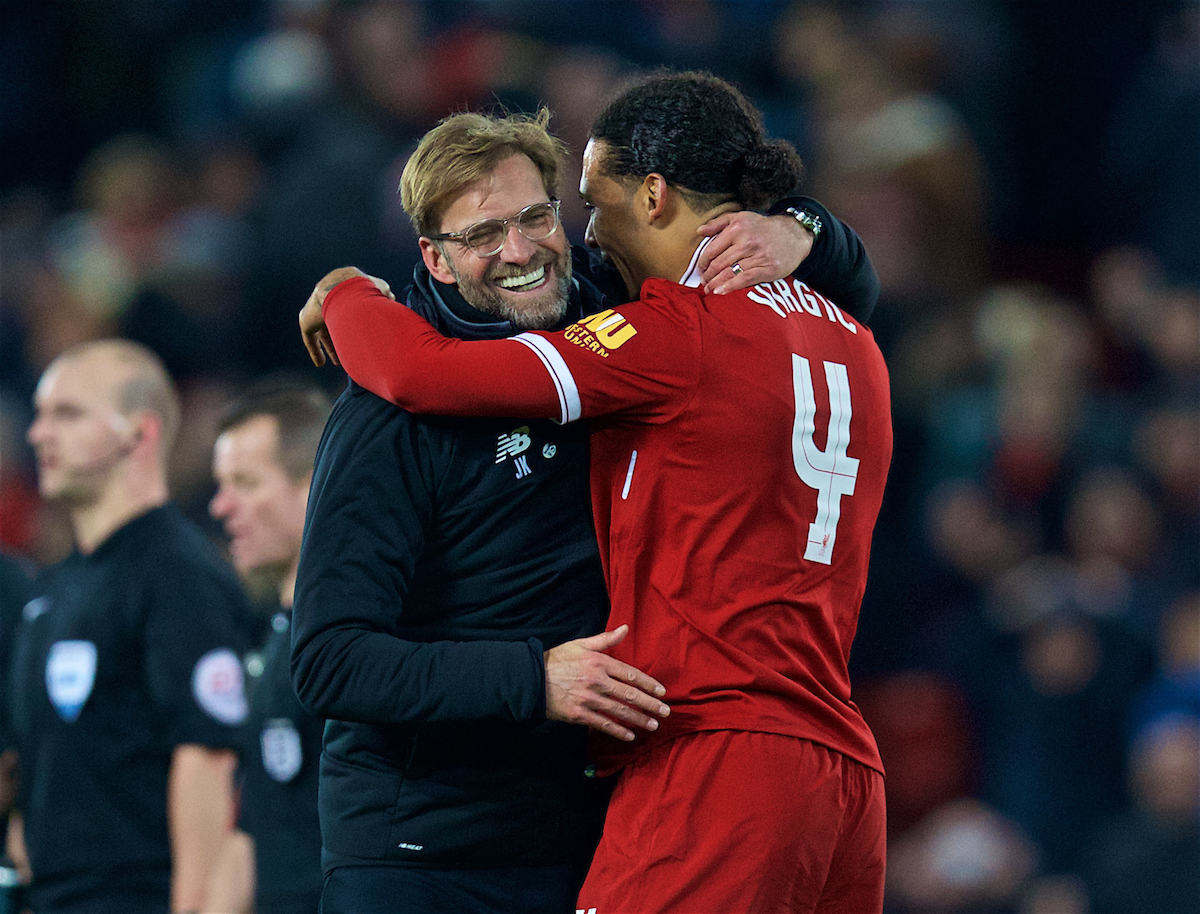 LIVERPOOL, ENGLAND - Friday, January 5, 2018: Liverpool's match winning goal-scorer Virgil van Dijk celebrates with manager Jürgen Klopp after the 2-1 victory over Everton during the FA Cup 3rd Round match between Liverpool FC and Everton FC, the 230th Merseyside Derby, at Anfield. (Pic by David Rawcliffe/Propaganda)