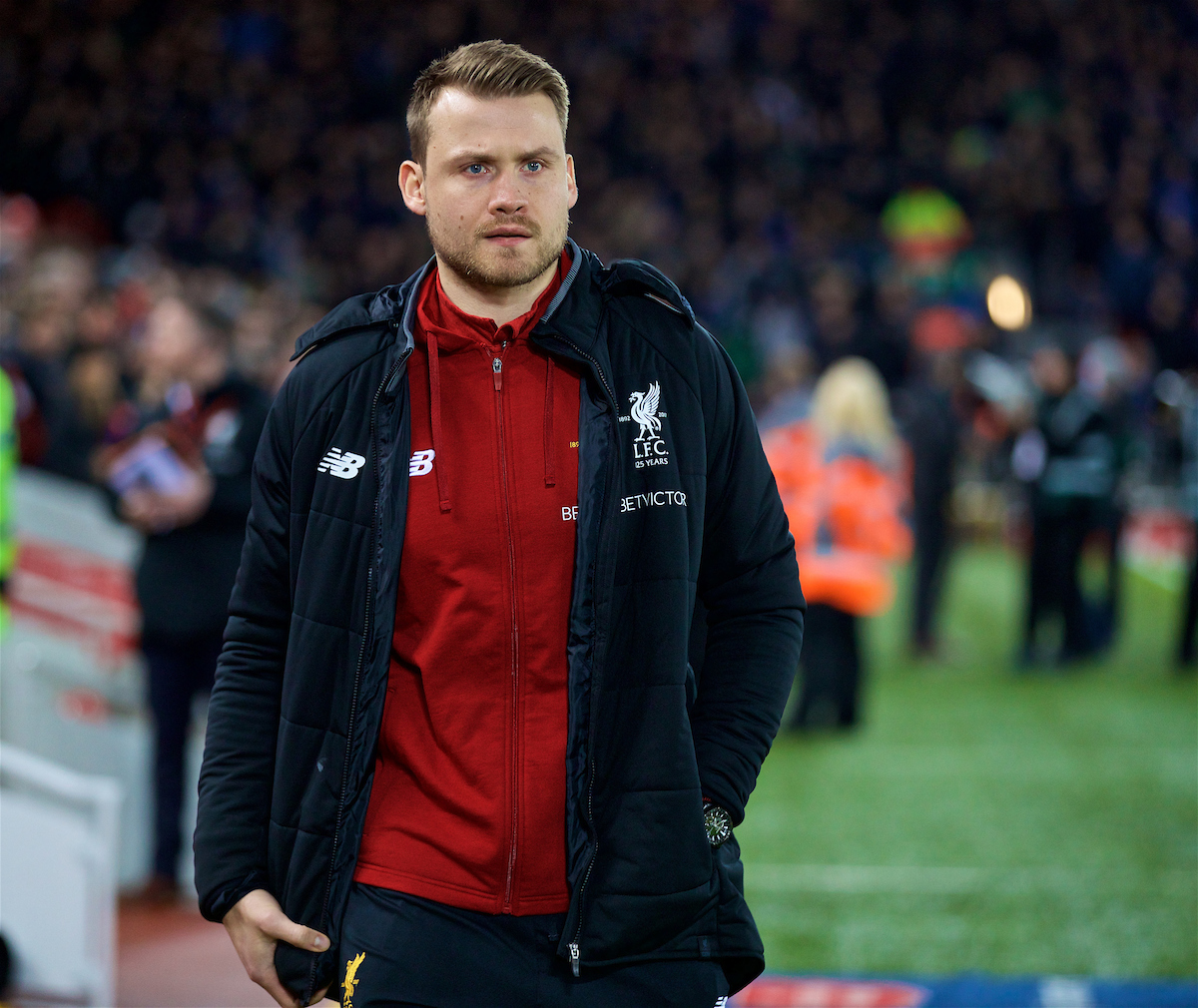 LIVERPOOL, ENGLAND - Friday, January 5, 2018: Liverpool's unused goalkeeper Simon Mignolet before the FA Cup 3rd Round match between Liverpool FC and Everton FC, the 230th Merseyside Derby, at Anfield. (Pic by David Rawcliffe/Propaganda)